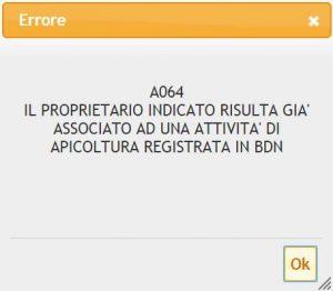 Anagrafe apistica errore A064 richiesta nuova attività BDA con stesso codice fiscale